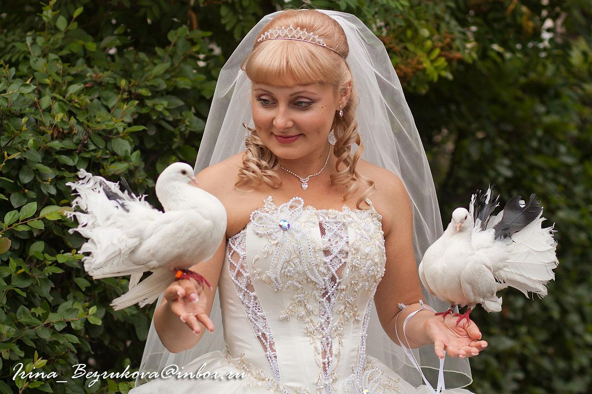 Невеста и голуби.